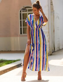 Striped Print Split High V-Neck And Back Dress