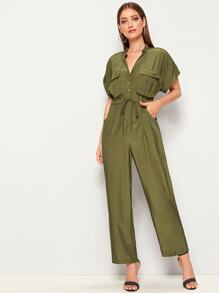 Drawstring Waist Button Pocket Front Roll Up Sleeve Jumpsuit