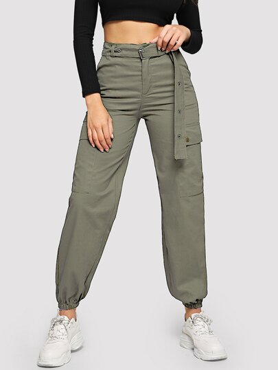Belted Eyelet Double Pocket Pants
