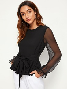 Contrast Mesh Sheer Sleeve Tie Front Blouse