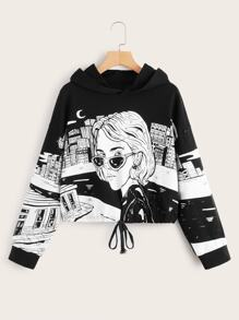 Figure Graphic Drawstring Hem Hooded Sweatshirt
