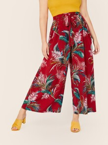 Plus Tropical Print Tie Waist Wide Leg Pants