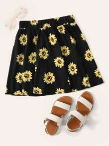 Sunflower Print Skater Skirt