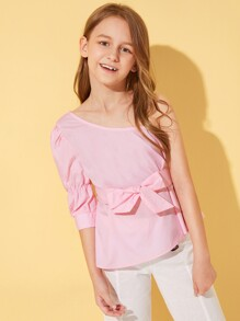 Girls Solid Asymmetrical Neck Belted Top