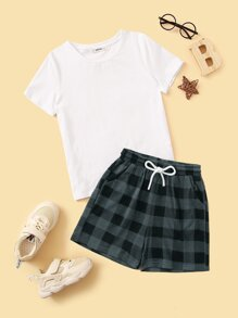 Boys Solid Top & Drawstring Waist Gingham Shorts PJ Set