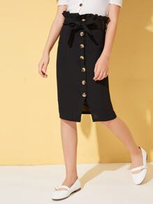 Girls Paperbag Waist Button Detail Pencil Skirt