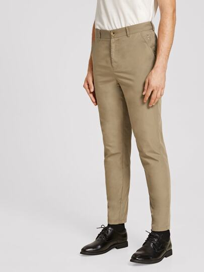 Guys Embroidery Detail Slant Pocket Pants
