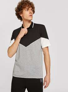 Men Striped Collar Cut-and-sew Polo Shirt