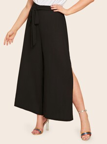 Plus Split Thigh Belted Palazzo Pants