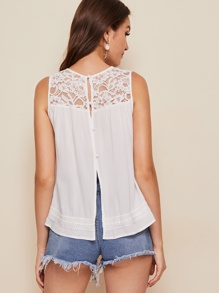Button Back Lace Insert Tank Top