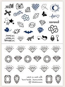 Mix Pattern Tattoo Sticker 2sheet