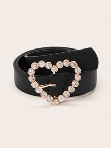 Rhinestone Engraved Heart Shaped Belt