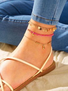 Star & Disc Charm Chain Anklet 3pcs