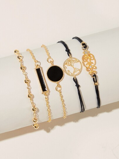 Round & Bar Decor Chain Bracelet 5pcs