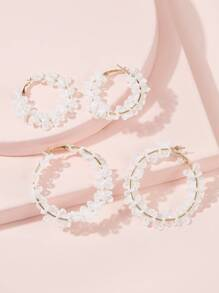 Lace Decor Hoop Earrings 2pairs