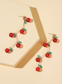 Cherry Decor Bar Drop Earrings 1pair