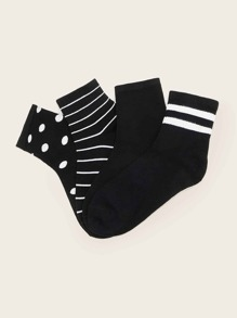 Striped & Polka Dot Pattern Ankle Socks 4pairs
