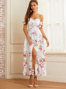 SBetro Off Shoulder Floral Frill Trim Split Thigh Dress