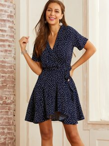 SBetro Polka-dot Print Wrap Knotted Dress