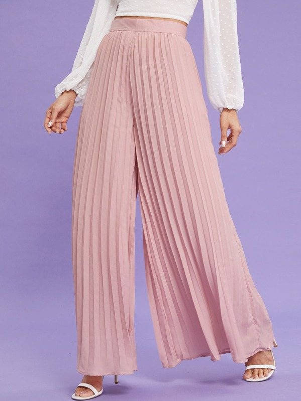 Zip Back Pleated Wide Leg Pants by Sheinside
