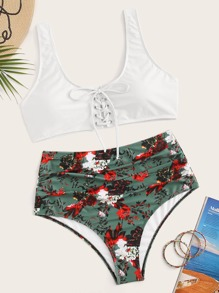 Plus Lace Up Front Top With Floral Bikini Set
