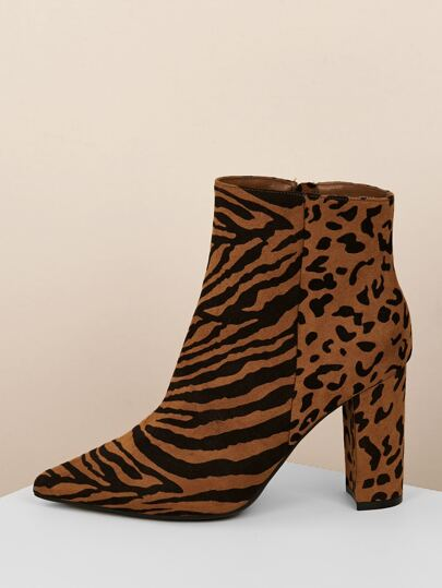 e426a04948cf5 Tiger Stripe Pointed Toe Block Heel Booties