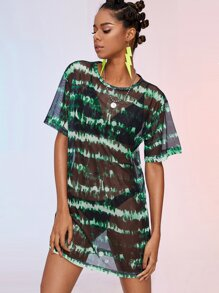 Mesh Tie Dye Sheer Dress Without Bra