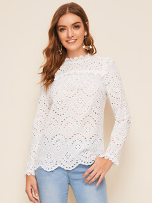 Eyelet Embroidery Scallop Edge Keyhole Back Blouse