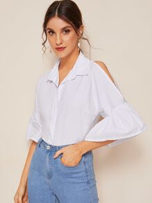 Flounce Sleeve Button Front Blouse