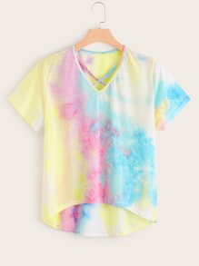 Plus Tie Dye Curved Hem Tee