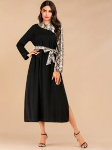 Snakeskin Print Slit Side Belted Dress