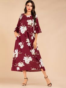 Floral Flounce Sleeve Hidden Pocket Dress