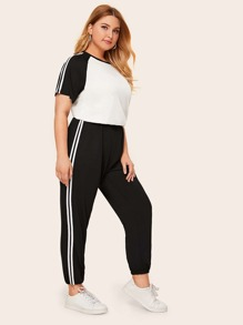 Plus Colorblock Side Stripe Tee & Pants Set
