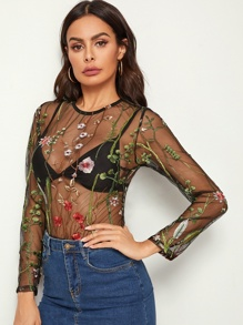 Sheer Embroidered Mesh Bodysuit Without Bra