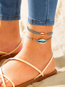 Shell Decor String Anklet 2pcs