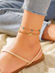 Shell & Bead Decor Chain Layered Anklet 1pc