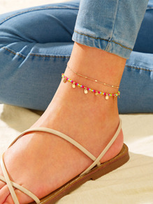 Disc Charm Beaded Chain Anklet 2pcs