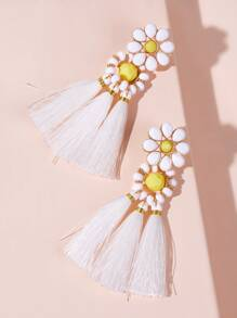 Flower Decor Tassel Drop Earrings 1pair