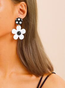 Polka Dot Round Flower Drop Earrings 1pair