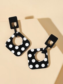 Polka Dot Open Square Drop Earrings 1pair