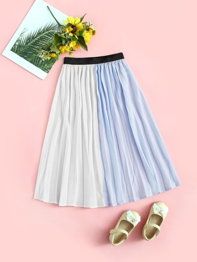 64243f5706c2cf Girls Contrast Waistband Two Tone Pleated Skirt