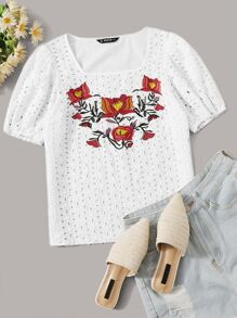 Embroidered Floral Square Neck Schiffy Blouse