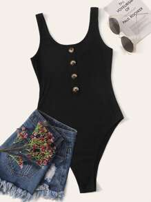 Button Front Rib-knit Tank Bodysuit
