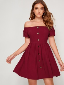 Button Front Bardot Fit & Flare Dress