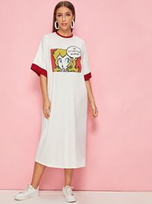 Slogan & Figure Drop Shoulder T-shirt Dress