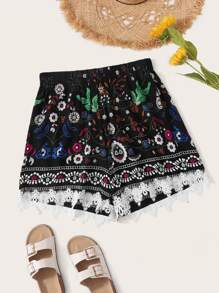 Plus Floral Print Tribal Contrast Lace Shorts