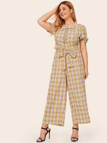 Plus Plaid Frill Tie Neck Top With Belted Wide Leg Pants