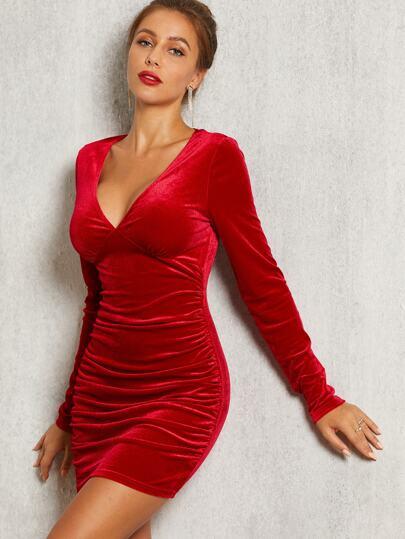a528c3538dabdc SBetro Figurbetontes reines Samt Kleid mit Bustier Detail