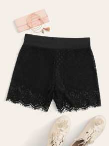 High Waist Lace Overlay Legging Shorts