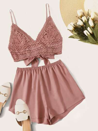 71d71bb6515ac4 Tie Back Lace Cami Crop Top & Shorts Set